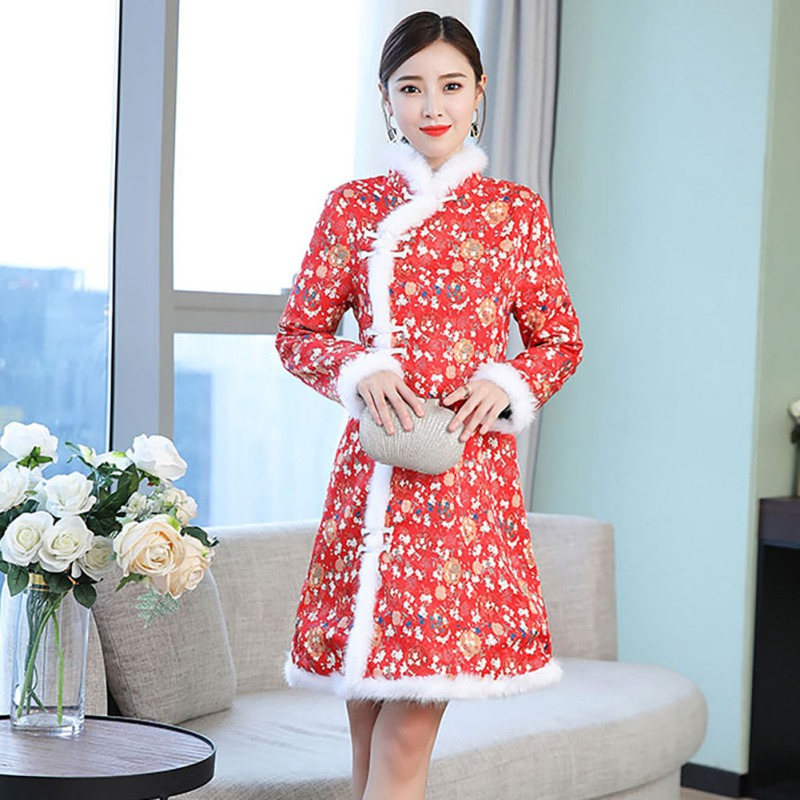 >Cheongsams <font><b>Chinese</b></font> <font><b>Style</b></font> Dress Long Sleeve Plus Size Winter Fleece Warm Thick Print Improve National Traditional <font><b>New</b></font> Year Dress