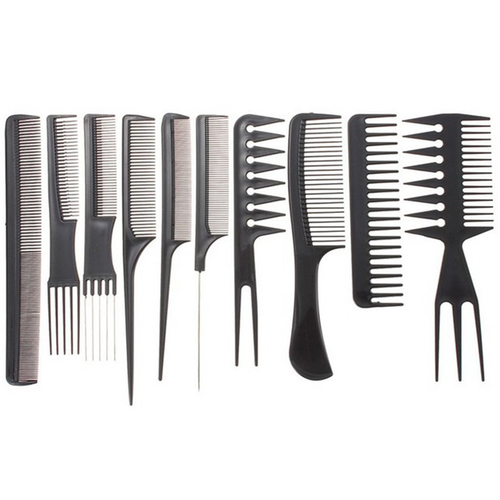 10-piece Set Hairdressing Comb Plastic Rapid Modeling Eco-Friendly Anti-static Massage Comb Straight Hair Comb