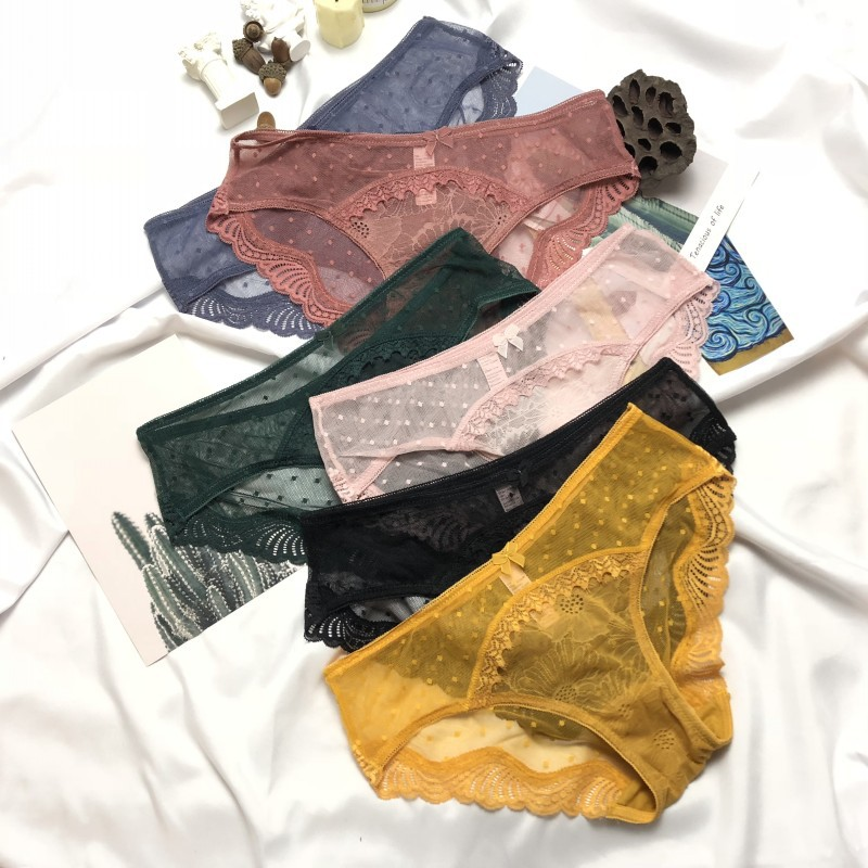 New Arrivals 2020 Sexy Femme Low-Waist Panty Women Underwear Briefs Dot Mesh Fashion For Ladies Bikini Thin Transparent Lingerie