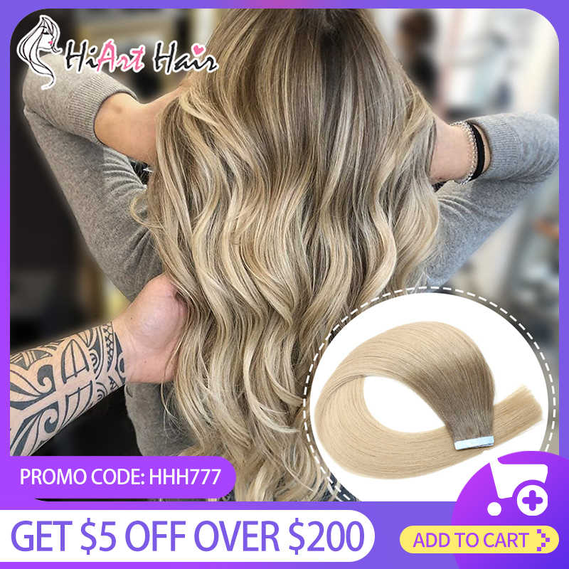 "Hiart 2.5 G/stk Tape Hair Extensions In Human Remy Hair Salon Double Drawn Hair Tape Human Hair Balayage Steil Haar 18 ""20"" 22"""