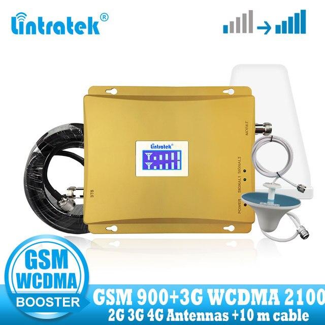 を lintratek 3 グラム wcdma 2100 mhz gsm 900 1800mhz のデュアルバンド増幅器携帯電話の信号ブースター gsm 信号リピータ 3 グラム 4 グラムアンテナ + ケーブル