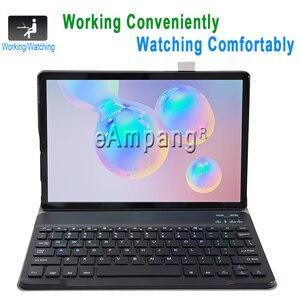 Image 2 - מקרה עבור Samsung Galaxy Tab S6 10.5 מקלדת מקרה T860 T865 SM T860 כיסוי רוסית ספרדית אנגלית Bluetooth מקלדת Funda מקרה