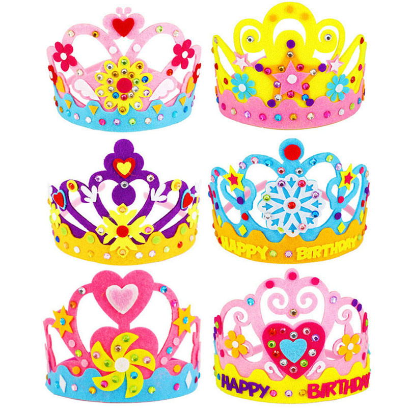 6PCS DIY Crafts Toy Sequins Crown Creative Flowers Stars Patterns Kindergarten Art Toys For Kids Party Decorations Children Gift