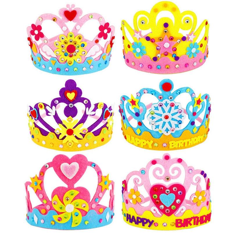 6PCS DIY Crafts Toy Sequins Crown Creative Flowers Stars Patterns Kindergarten Art Toys for Kids Party Decorations Children Gift