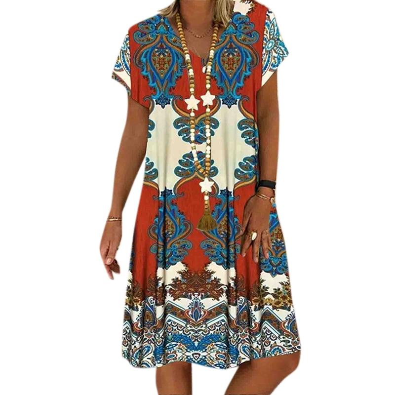 Vicabo Elegant V Neck Dress Womens Dress Summer Robe Femme Plus Size Vintage Print Short Sleeve Vestidos De Mujer 2020