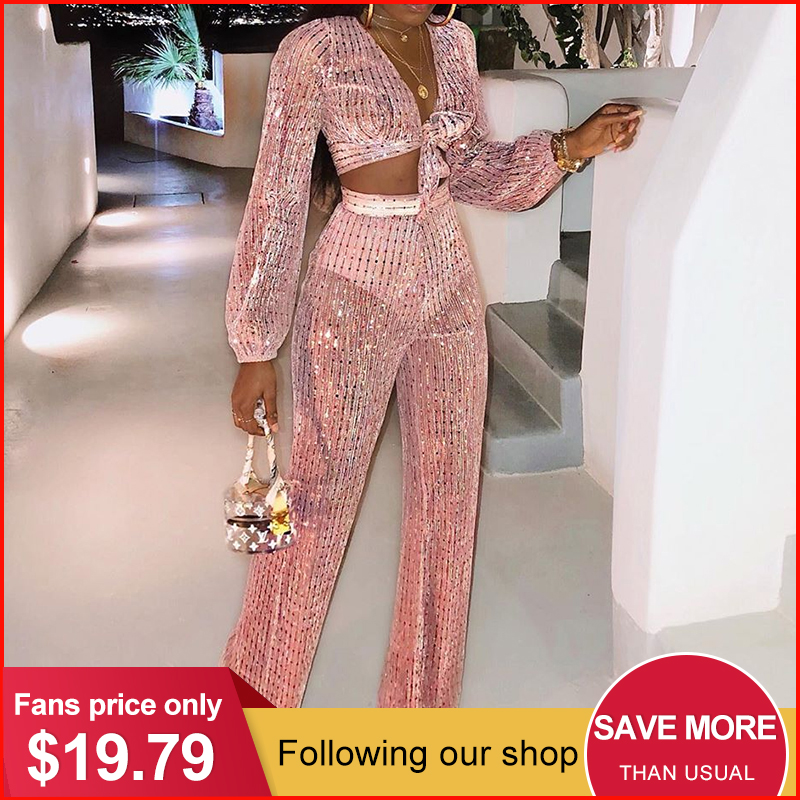 Glamaker 3 Piece Set Women Jumpsuit Romper Sequin Sexy Wide Leg Party Club Long Jumpsuit Elegant Female Playsuit Autumn Overalls