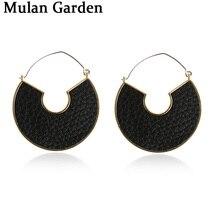M&G Faux Leather Earrings for Women Leopard Pu Gold Alloy Half Moon Geometric Trendy Winter Dangle Earrings Wholesale 2020 Gifts цена 2017
