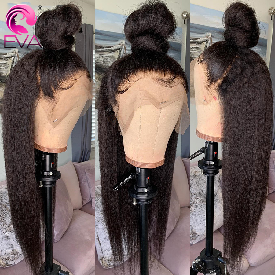 Pre Plucked Full Lace Human Hair Wigs With Baby Hair Yaki Straight Glueless Full Lace Wig Bleached Knots Brazilian Remy Hair Eva