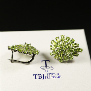 Image 4 - big size 10ct natural Peridot earring luxury party jewelry 925 sterling silver women jewelry for wife mom best gift from tbj
