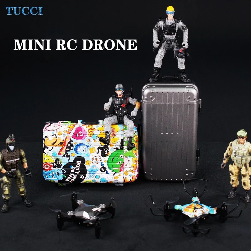 DH 120 RC Mini Drone 4K HD Wifi FPV Remote Control Quadcopter With Camera Luggage Shape Foldable One-click Return Dron Toys Boys