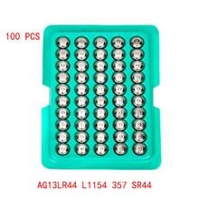 Novo 100 pces pilha moeda relógios bateria lr44 ag13 l1154 357 sr44 1.5v alcalina botão baterias adequado para relógio de pulso