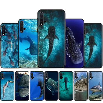 Ocean Whale Shark Swimming Silicone Phone Case For Huawei Nova Lite 2 Lite 2i 3 3i 4 4E 5i 5T 7 7SE Back Cover image