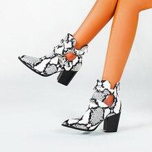 Botas de vaquero del oeste para mujer, cosacos cortos de piel sintética con hebilla en el tobillo, con tacón alto, 2020
