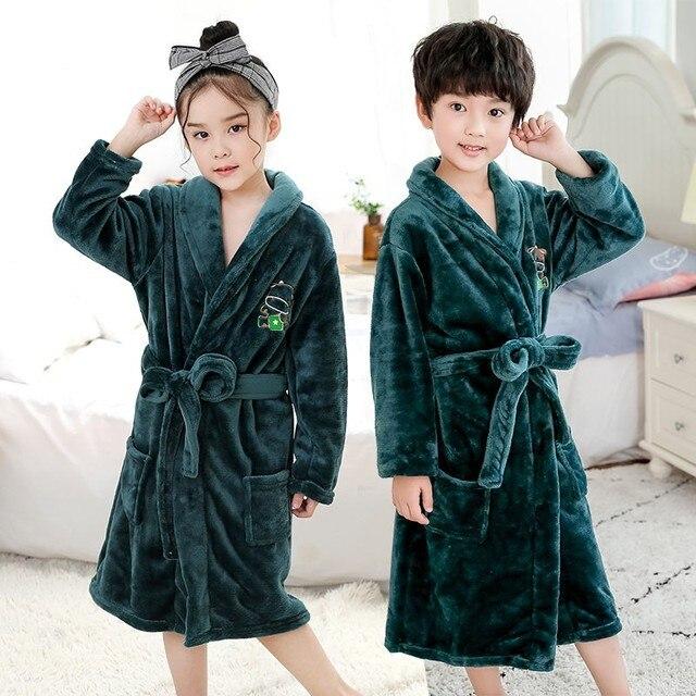 Bebê menina robe flanela quimono banho crianças vestido de noite pijamas unisex crianças bonito dos desenhos animados roupão coral velo nightwear