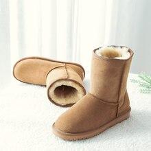 Darmowa wysyłka moda kobiety klasyczne podstawowe australia buty prawdziwa skóra bydlęca skóra wełna pokryte zimowe antypoślizgowe gumowe buty