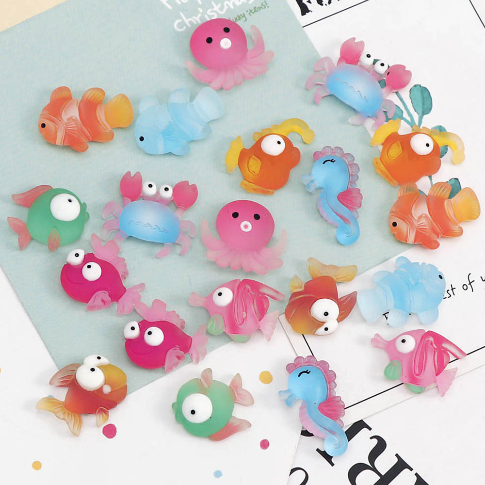20Pcs Mix Styles Cute Fish Crab Seahorse Squid Flat Back Resin Cabochon Animal Resin Flatback Cabochone For DIY Home Hair Decora