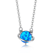 SILVERHOO S925 Sterling Silver Necklaces For Women Light Blue Opal Pendant Necklace Romantic Spherical Wedding Jewelry Direct