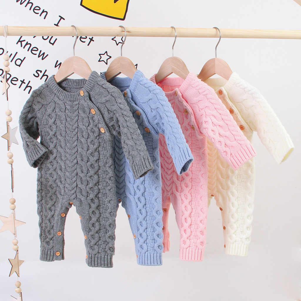 Kombinezon dla noworodków moda Baby Boy Girl zimowy sweter z guzikami kombinezon z dzianiny z długim rękawem Romper Warm Infantis Costume @ 47