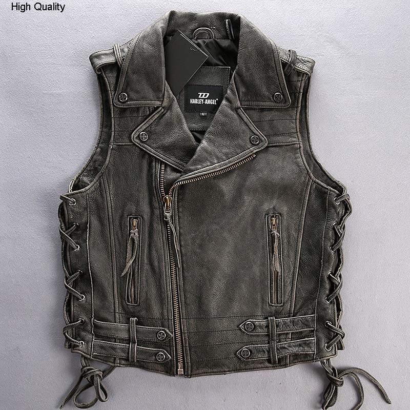 2020 Men's Vintage Leather Vest Lapel Rivet Adjustable Waist Motorcycle Vest Men Sleeveless Cow Leather Biker Jacket Male