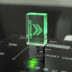 New Transparent Crystal USB Flash Drive 64GB 8GB 16GB 32GB for CITROEN Car Logo with LED Flash Disk 2.0 Memory Stick Pen Drives