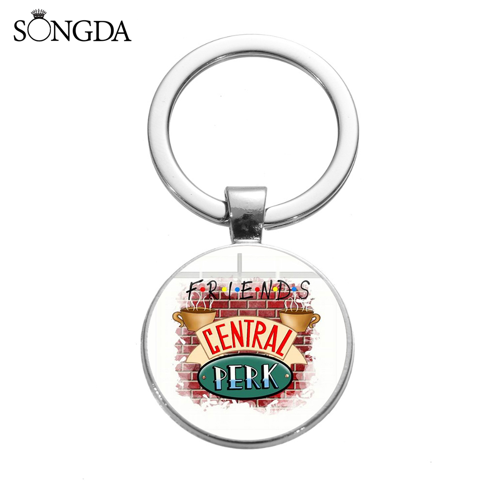 SONGDA Cute Friends TV Show Keychain Central Perk Coffee Time Monica's Door Fun Cartoon Printed Glass Art Key Chain Gift For Best Friend