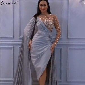 Image 5 - Серен Хилл красное сексуальное вечернее платье на одно плечо Русалка 2020 длинное атласное вечернее платье без рукавов с бриллиантами CLA70465