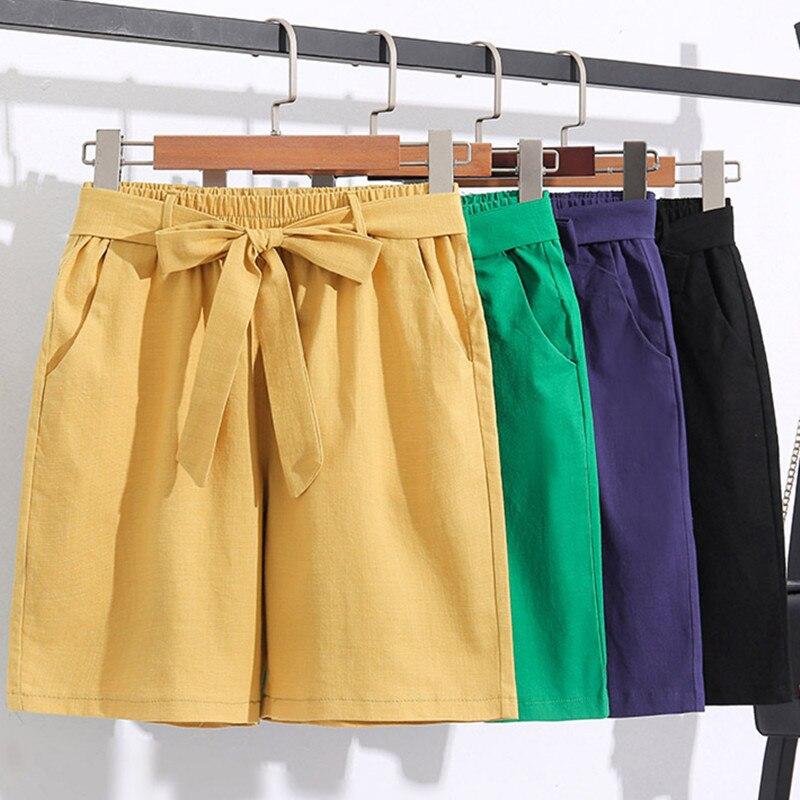 Plus Size M-7XL Elastic Waist Cotton Linen Shorts Women High Waist Shorts With Belt Summer 2020 Harajuku Korean Short Feminino