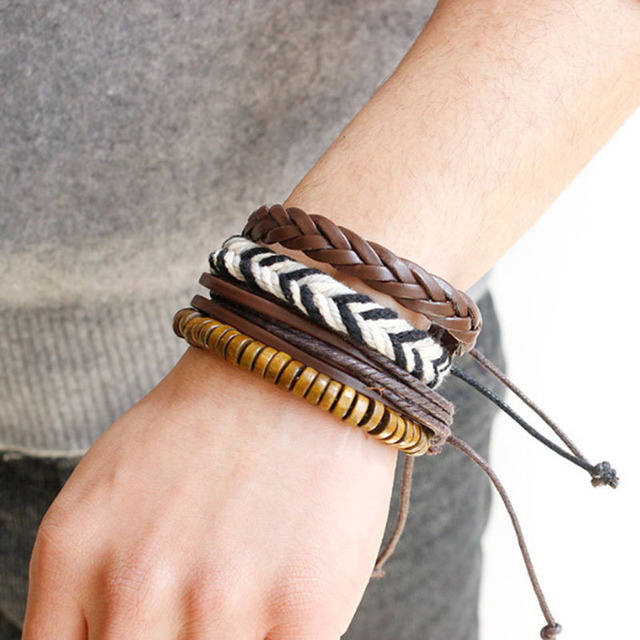 Brown leather bracelet for men with feather  Mens rustic bracelet Big feather bracelet Sea horse bracelets Leather jewelry gift for him