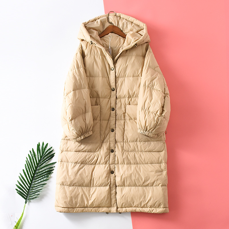 Shuchan Down Jacket Woman Hooded 90% White Goose Down Wide-waisted Single Breasted Pockets Chaqueta Mujer Warm Women's Jackets