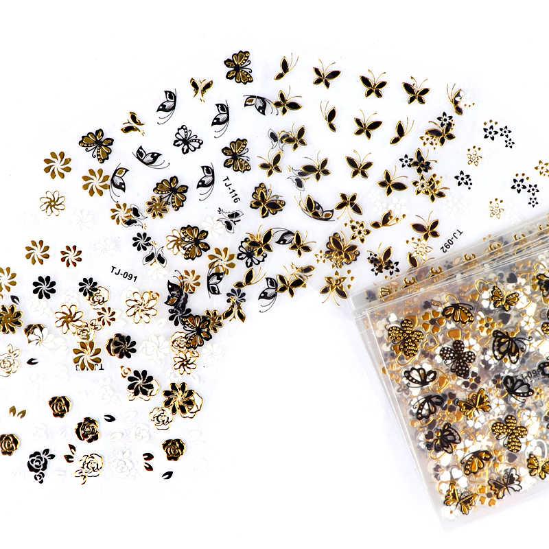 30Pcs Gold Silver 3Dสติกเกอร์เล็บDecals Hollowแบบผสมกาวเล็บดอกไม้เคล็ดลับจดหมายผีเสื้อกระดาษเล็บ
