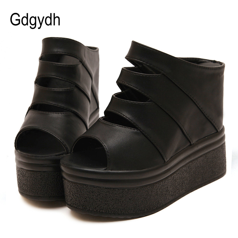 Gdgydh Open Toe White High Heel Platform Sandals Women Black Wedges Shoes For Summer Rubber Sole Good Quality Roman Thick Bottom