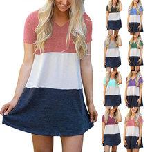 New Summer Color Matching V-neck Short Dress Ladies Short Sleeve Loose T-shirt Dress Retro Stripe Print Knee Length Skirt