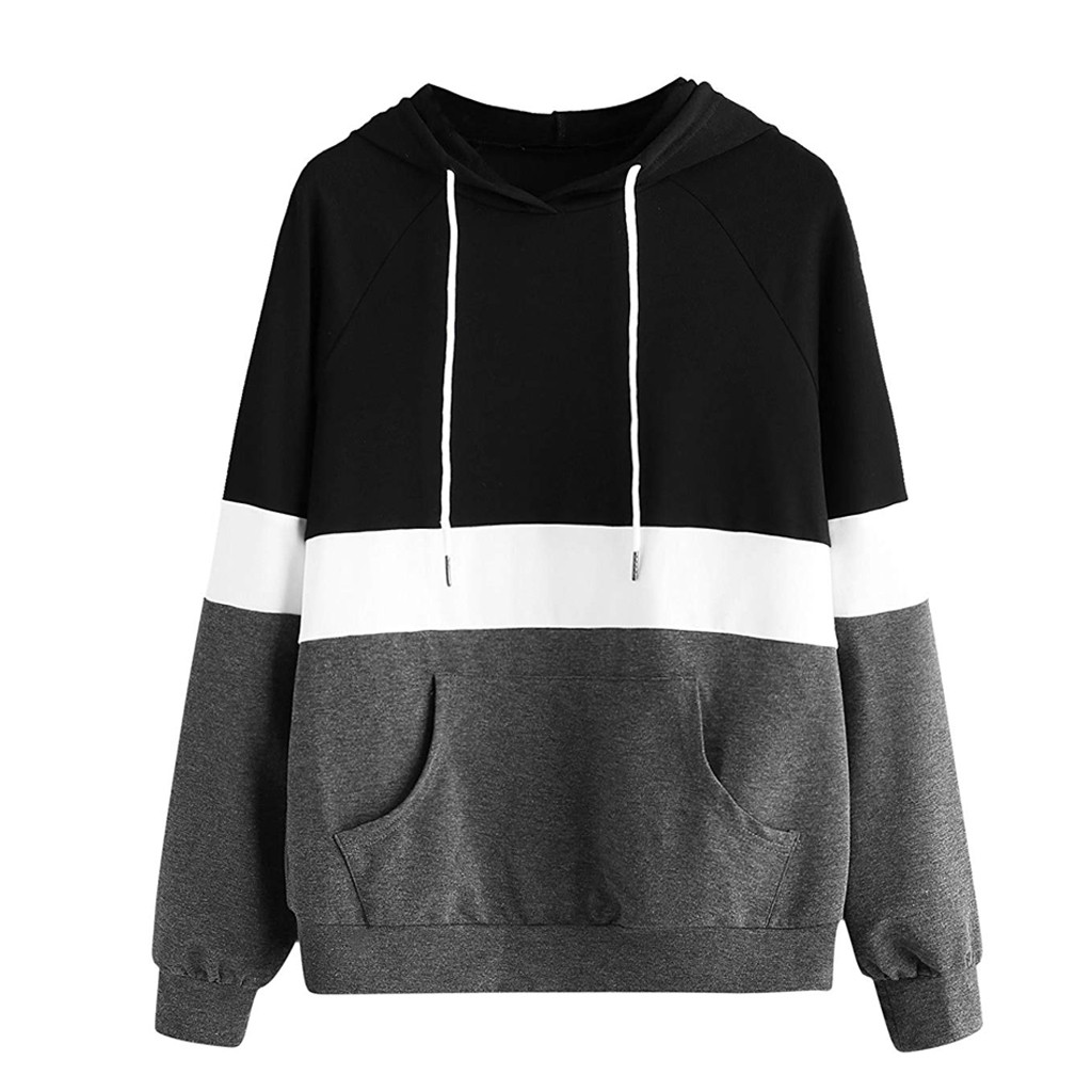 JAYCOSIN Stitching Stripe With Pocket Hooded Sweatshirt Ladies Loose long-sleeved Casual Sweatshirt Daily Wild Autumn And Winter