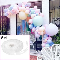 5M Reusable Clear Balloon Chain Decorating Strip Arch Garland Balloon Accessories Making for Birthday Wedding Events Background