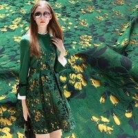 SASKIA 1Meter Green Jacquard Fabric Brocade Gold Ribbon Flower Fabrics Sewing Women Dress Clothes 360G/M 58 Patchwork Zakka Diy