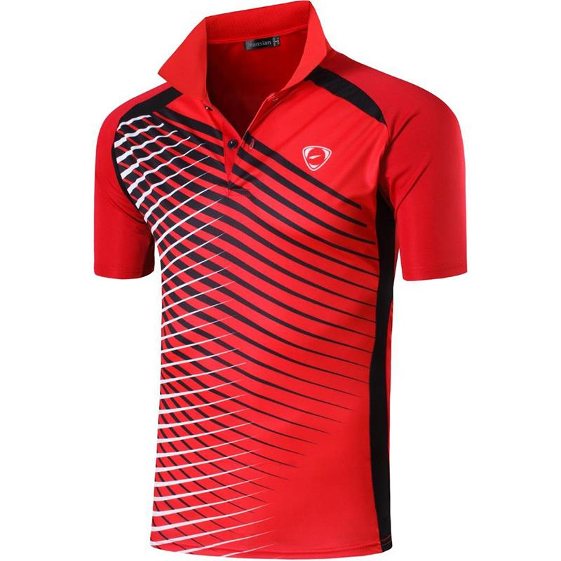 jeansian Men's Sport Tee Polo Shirts POLOS Poloshirts Golf Tennis Badminton Dry Fit Short Sleeve LSL243 Red2 1