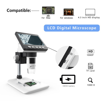 50X-1000X 1080P Portable Electronic Digital Desktop Microscope with LED Light Support Micro SD Card for phone repair
