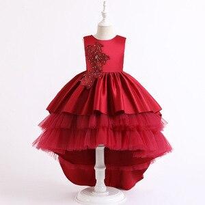 LZH Childrens Clothing 2020 New Girls Lace Elegant Sleeveless Wedding Gown Princess Dress Christmas Party Trailing Cake Dresses