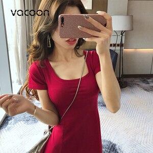 Image 5 - נקבה קיץ כותנה שמלת אישה קיץ מסיבת לילה מזדמן רופף אלגנטי שמלה אדום שחור Slim שמלה