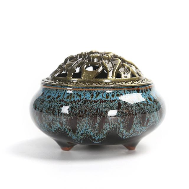 Quemar esmalte negro tinta disco incensario de cerámica quemador de incienso asiento interior hogar decoración del hogar para incienso C