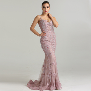 Image 1 - Serene Hill Pink Sexy Elegant Evening Dress 2020 Lace Pearls Diamond Mermaid Formal Party Gown Real Photo CLA6355