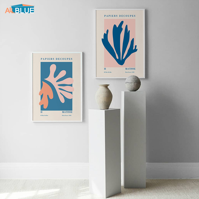 Vintage Matisse Cutout Blue Style Abstract Poster Canvas Print Wall Art Painting Nordic Home Decoration Picture For Living Room