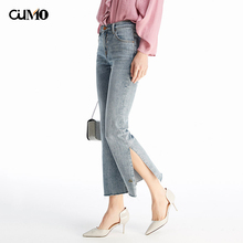 [OuMo] brand high quality Jeans for Women mom High Waist Split flared hem design Casual pants 2019 new
