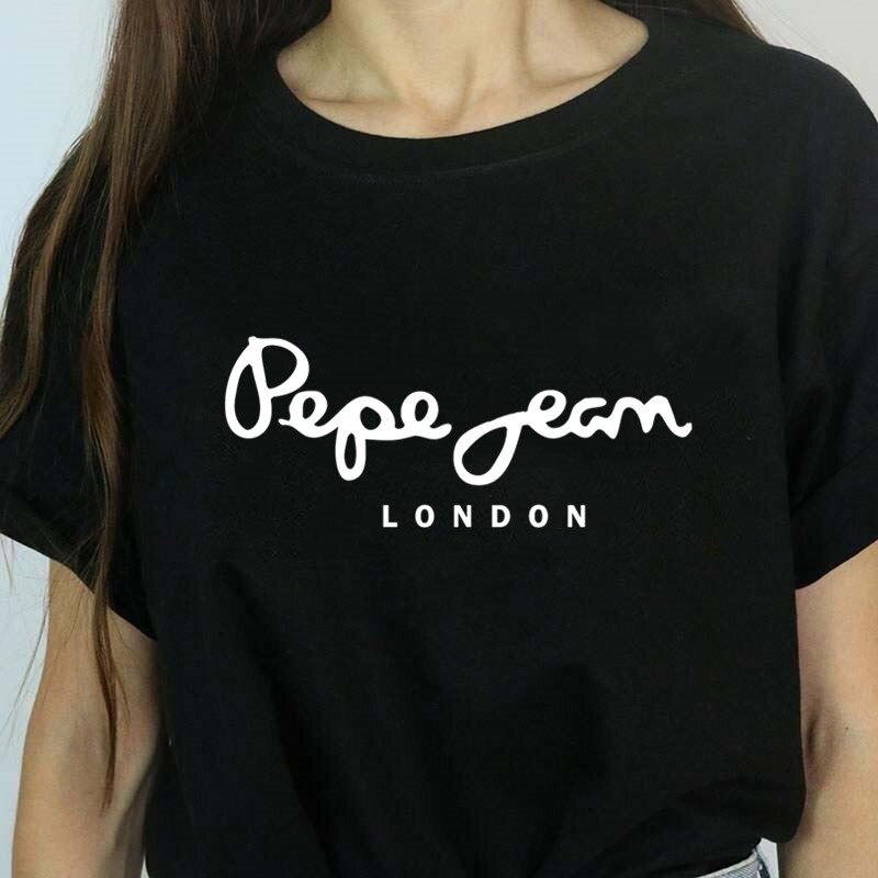 T-shirts femmes T Shirt imprimé lettre T-shirt décontracté noir rose à manches courtes couverture en coton 2019 printemps été marque de luxe