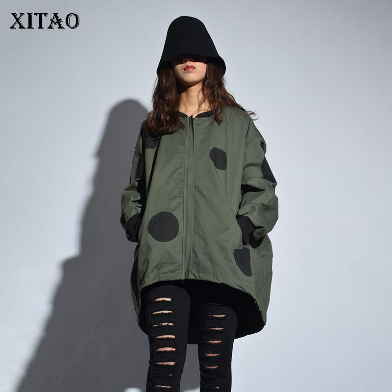 [XITAO] Europe 2018 New Arrival Autumn Casual Women Polka Dot Print Stand Collar Coat Female Full Sleeve Loose Jacket LJT3848