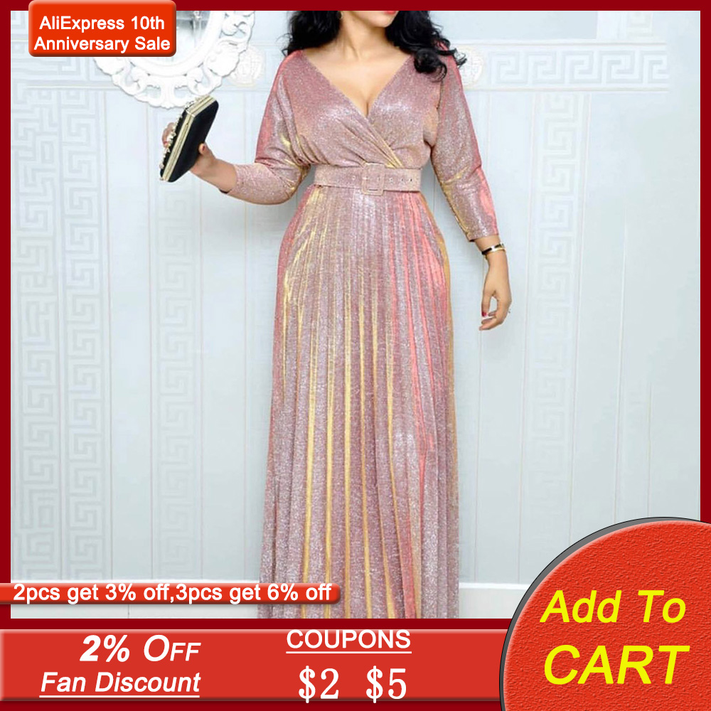Pink Sequins Evening Party Dress Women Pleated Deep V Sexy Plus Size Dress Long Luxury Gown Elegant Sparkly Maxi Robe De Soiree