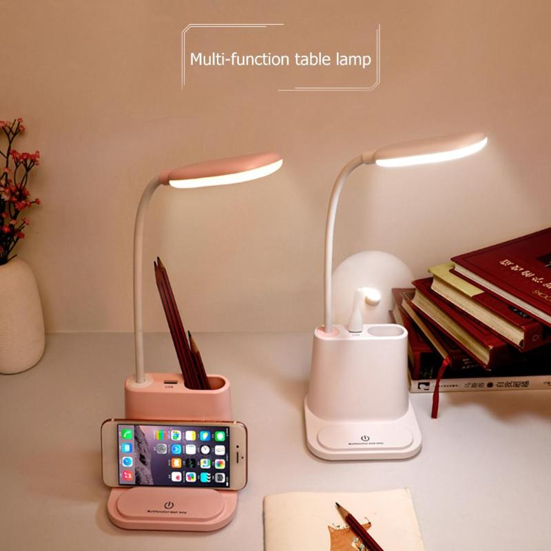 Multifunctional LED Touch Desk Lamp USB Rechargeable Bedroom Table Light