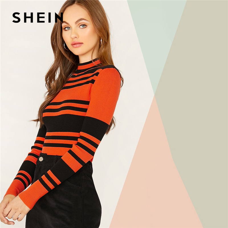 SHEIN Multicolor Mock Neck Striped Slim Fitted Pullover Sweater Women Tops Autumn Winter Long Sleeve Rib-Knit Elegant Sweaters