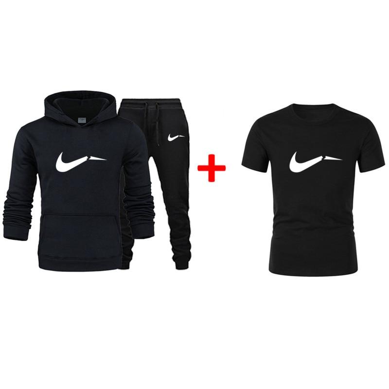 2019 New Men's 3 Piece Set T-shirt + Hooded Suit Fleece Warm Autumn And Winter Cotton Sportswear Men And Women Sports Shirt Suit