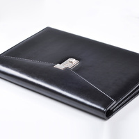 A4 Document File Folder with Lock Padfolio Fichario Password Briefcase Organzier Executive Cabinet PU Leather Office Manager Bag
